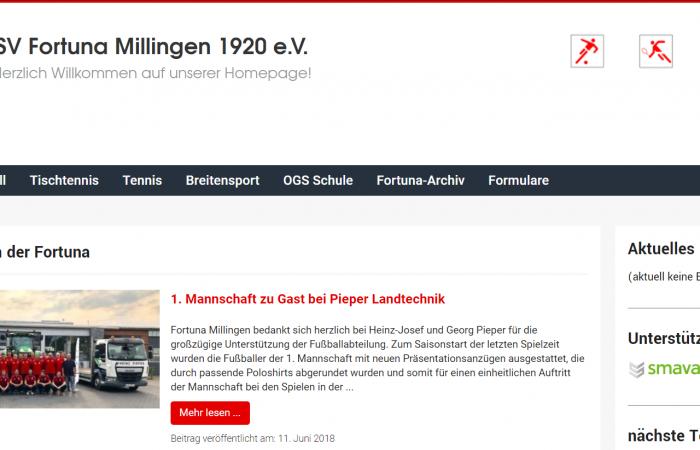 Fortuna Millingen präsentiert sich auf neuer Homepage