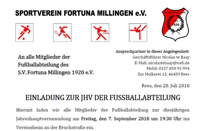 Fußballabteilung lädt ein zur JHV 2018